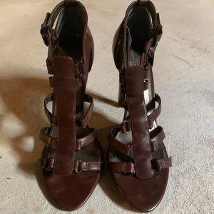 Brown gladiator style heels